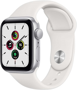 Apple Watch SE GPS 44mm Aluminum Case with Sport Band серебристый/белый MYDQ2