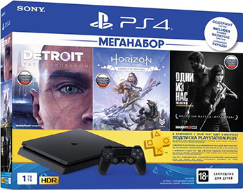 Игровая приставка PlayStation 4 1TB HZD+Detroit+TLoUS + PS+ 3 мес. + PlayStation VR Mega Pack Bundle + Sony Move Motion Controllers Two Pack + Гарнитура Platinum для PS4