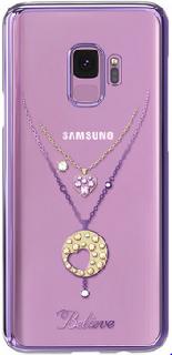 Пластиковая накладка с Swarovski для Galaxy S9 Kingxbar Necklace фиолетовая фото