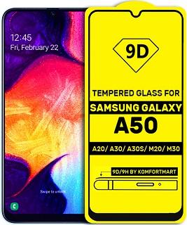 Защитное стекло для Samsung Galaxy A30/A50/А31/M21/M31/Xi Note8 полноэкранное 9D черное в техпаке фото