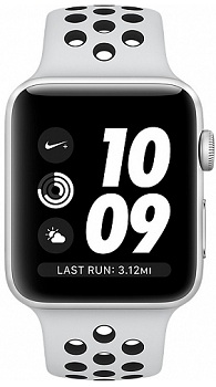 bbfec401 Apple Watch Series 3 38mm Aluminum Case with Nike Sport Band silver MQKX2  (серебристый)