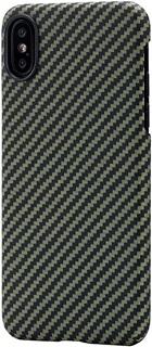 Кевларовая накладка для iPhone XS Cabal Premium черно-зеленая фото