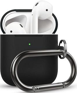 Силиконовый чехол для AirPods 2 Hang Case с карабином черный  - купить со скидкой