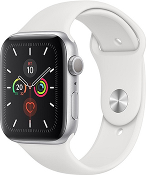 Apple Watch Series 5 GPS 44mm Aluminum Case with Sport Band серибристый/белый
