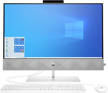 "Моноблок HP Pavilion 27-d0006ur AiO 27"" 1920x1080/Core i3 10300T 3Ghz/4Gb/256SSD/noDVD/Int:Intel Graphics /Cam/WiFi/w1y/White/DOS + kbd/mouse (14Q41EA)"
