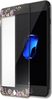 Защитное стекло с Swarovski для iPhone 7/8 Kavaro Flower черное фото